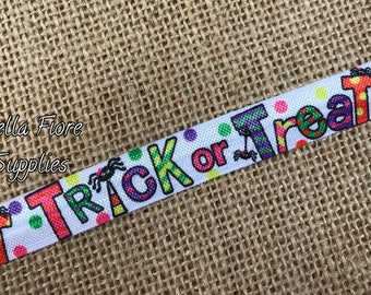 Trick of Treat  Fold Over Elastic- Halloween FOE- Wholesale- DIY Headband- Halloween Elastic- Spider FOE