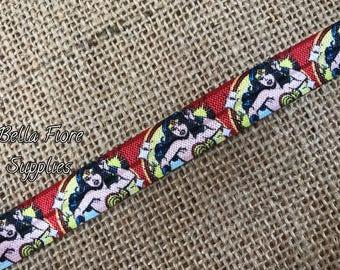Wonder Woman Fold Over Elastic- Superhero FOE- Halloween FOE- Wholesale- DIY Headband- Halloween Headband- Batman Headband