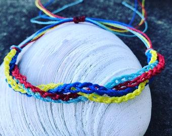 Autism Awareness Surfer Style Bracelet, Waterproof Autism Colors Bracelet, Adjustable Wax Cord Bracelet, Crochet Autism Bracelet