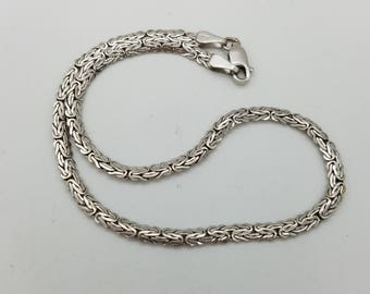 14K White Gold Byzantine Anklet or Large Bracelet - 10""