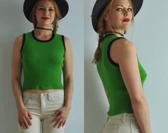 Vintage Ribbed Sweater Vest Ringer Tank Top // Green & Blue // 70s 80s 90s