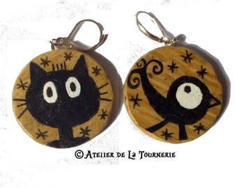 Earrings wooden handcrafted and original - handpainted - cats Collection - mother's day