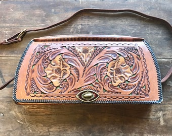 Vintage 1960s Tooled Leather Purse Made in Mexico