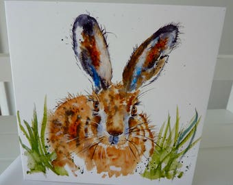 The Hare - Greetings Card from a painting by Pauline Merritt