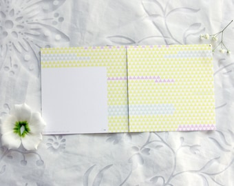Easter card with a triangle pastel pattern. Birthday card, invitation.