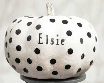 Dotty Personalised Name Halloween Pumpkin Stickers