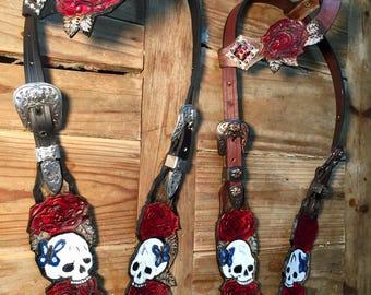 Skull headstall horse bridle one ear roses