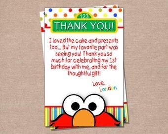 Elmo Inspired Birthday Thank You Card - Birthday Thank You Card - Printable Thank You Card
