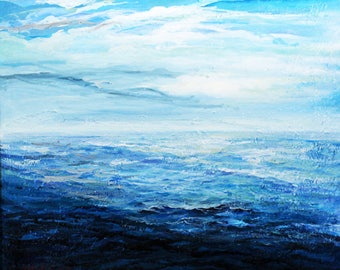 Landscape Sea BIG size file digital download, photo of original painting painting modern blu abstract SEA Landscape Original Painting