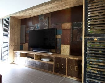 Tunni Reclaimed Scaffolding Board Media Unit with Vintage Filing Cabinet Components and a Distressed Sheet Steel Patchwork Feature Wall