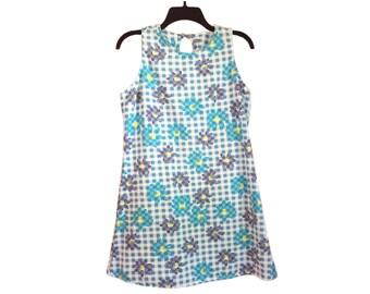 Vintage 90's California Concepts Plaid Flower Print Dress Size 13