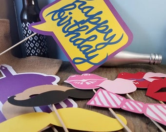 birthday photo booth props, birthday party decorations, party photo props, party decorations, custom props