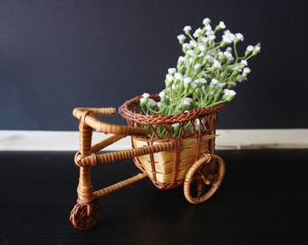 Woven Miniature Basket - Bicycle Shaped Basket - Woven Basket - Miniature Planter - Plant Decor - Bohemian, Boho