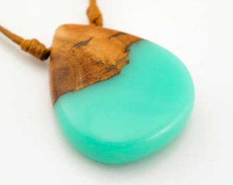 Turquoise Resin and Wood Pendant; Wood and Resin Pendant; Wood Jewelry