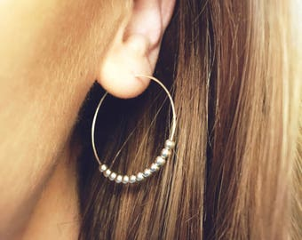 Silver bead hoop earrings, silver hoops, beaded hoops, silver earrings, silver earrings, mother's day gift, 30mm, 1 PAIR