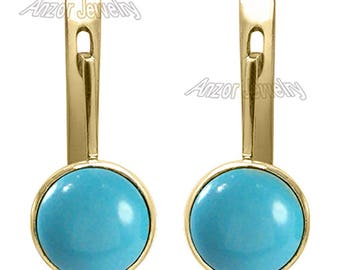 14k Solid Yellow Gold Genuine Turquoise lever-back Earrings   E1369