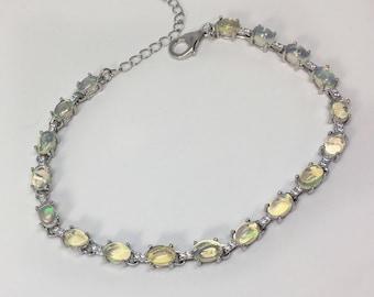 925 Silver Natural Opal Bracelet, Appraised 1,880 CAD
