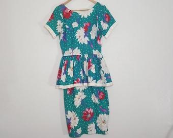 Peplum Cotton Dress / Bright Cotton Dress / Blue Aqua Dress / Floral Dress