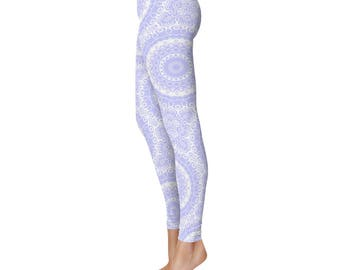 Yoga Tights Women - Periwinkle Yoga Leggings, Periwinkle Leggings, Blue and White Printed Leggings, Mandala Art Tights, Blue Stretch Pants