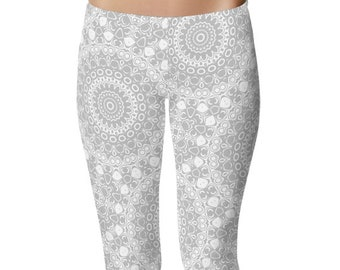 Silver Yoga Leggings, Silver Leggings, Gray and White Patterned Leggings, Mandala Art Tights, Gray Stretch Pants