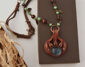Amulet of Dibella, Skyrim inspired necklace, Cosplay jewelry, Skyrim pendant, Fan art Gamer jewelry, Handmade polymer clay, Geeky girl gift