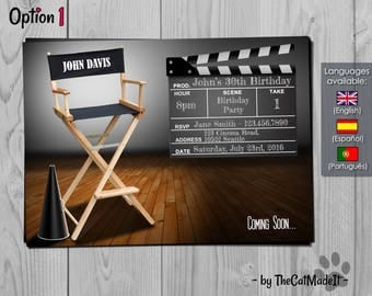 Movie Invitation - Cinema Invite - Producer's chair Birthday Invitation - Fully Customizable