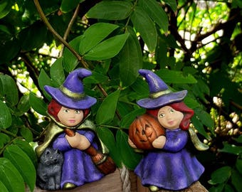 HALLOWEEN WITCHES-pair of ceramic witch figurines-Kitchen Witches-Halloween decorating-magical decor-pagan wiccan-witchlet keepsake-gift.