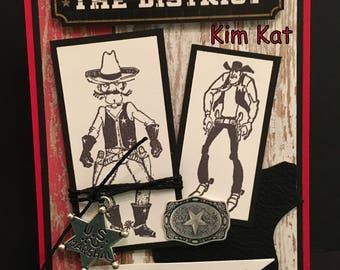 Cowboy Card 3D Pop Up Cheer The Hell Up Deputy Sheriff Marshall Shoot Out Stampin Up OOAK Mixed Media Handmade