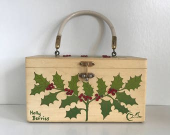 "Enid Collins / Collins of Texas. ""Holly Berries"" vintage box purse."