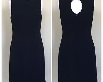 Mod little black wiggle dress with keyhole back. Women's US size 10.