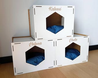 Cat House Personnalized With Name Of The Cat Cat Cave Cat House Cat Cave  Pets Furniture Part 44