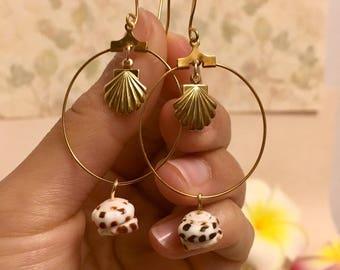 Silver Sea Shell Earrings | Gold Sea Shell Earrings | Sea Shell Hoops | Puka Shell Hoop Earrings | Hawaiian Puka Shell Earrings