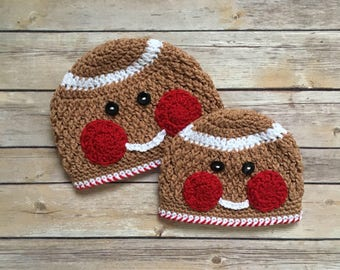 Gingerbread Crochet Hat - Handmade Hat - Beanie - Toddler Hat - Baby Hat - Newborn - Infant Winter Hat - Christmas Hat - Holiday Hat
