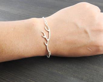 Antler bracelet, Artisan jewelry, Silver jewelry  Boho jewelry One of a kind Silver jewelry, gift for her Silversmith jewelry Nature jewelry