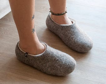 Women's Felted Slippers Organic Wool, Honeymoon Unisex Slippers, Natural Grey & White by Wooppers Woolen Slippers, Felted warm clogs