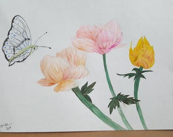 Flower and Butterfly Watercolor