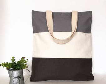 Three Panel Canvas Tote Bag, 3 Panel Canvas Tote Bag, Minimal Canvas Tote Bag, Canvas bag, School Tote Bag, Tote bag with zipper, Cute Tote