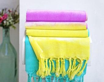Colorful Tiedye Turkish Peshtemal Towel   % 100 Turkish Cotton Handmade