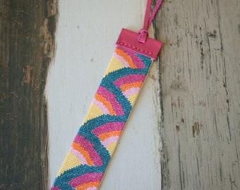 Pink Leather Bracelet,Pink Embroidered Bracelet,Embroidered Cuff,Crossstitch Bracelet,Embroidered Bracelet,Leather Cuff,Boho Bracelet