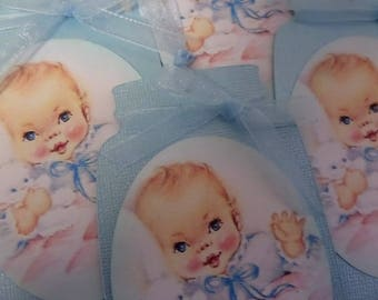 BABY GIFT TAGS • 4 New Baby Tags • Baby Shower Tags • Mason Jar Tags • Handmade Tags • Unique Gift Tags • String Tags • The Whiskered Kitten