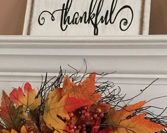Hand Painted Thankful Sign