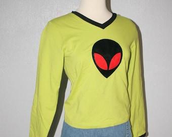 90s Vintage Alien UFO Face Vinyl Plastic Club Kid Long Sleeved Top