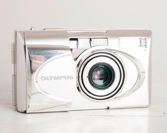 Olympus mju-V QD + Samples! functional vintage 35 mm film camera, Quartz Date, Zoom Zuiko, Deluxe Metal compact point&shoot + Handstrap!