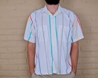 Vintage Striped Oxford | Mens Colorful Striped Button Down