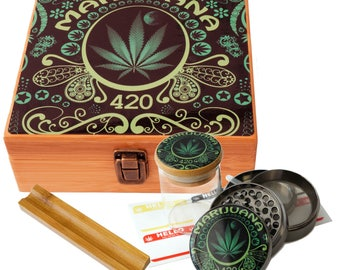 "Large Size Geometry Stash Box, 2.5"" Zinc Alloy Grinder,  Stash Jar, 6"" Rolling Tray - ALL IN ONE Box Package Leaf Design Item# LBCS020818-1"