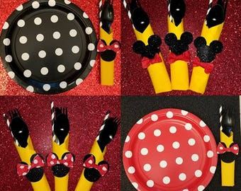 Mickey or Minnie themed party cutlery set of 12