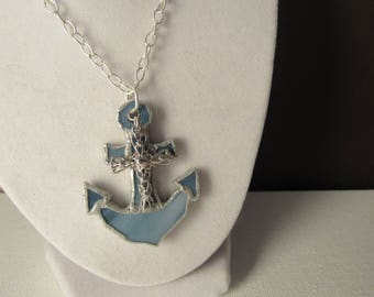 Christ As My Anchor Stained Glass Pendant