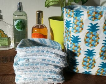"""12 pretty wipes/cotton washable and their """"blue pineapple"""" basket"""