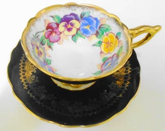 Royal Stafford china England PANSY Viola gold tea cup and saucer Black