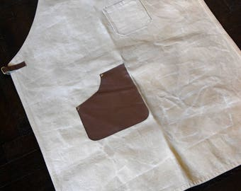 Apron. Waxed Canvas Apron- Egyptian Cotton + Leather FREE Shipping